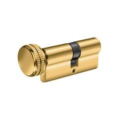 Κύλινδρος Υψηλής Ασφαλείας Domus Alfa 24065H 65άρης (30-35) brass με πόμολο από την μικρή πλευρά