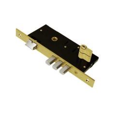 Κλειδαριά Ασφαλείας Domus ΤΡΙΑΙΝΑ 45άρα Ορειχαλκ. για Ξύλινη Πόρτα + Κύλινδρος Απλός 65άρης