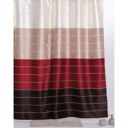 Κουρτίνα Μπάνιου Υφασμάτινη Import Hellas Multi Κόκκινο 180 (Φ)x200 (Υ)