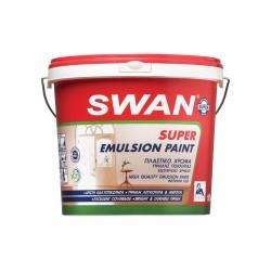 Πλάστικό Χρώμα Swan Super Emulsion Εσωτερικής Χρήσης Εξαιρετικής Ποιότητας Λευκό 750ml
