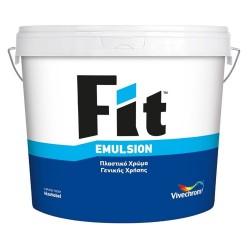 Πλαστικό Χρώμα Vivechrom Fit Emulsion Εσωτερικής Χρήσης Λευκό 9Lt