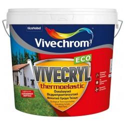 Ακρυλικό Θερμοπροστατευτικό Μονωτικό Χρώμα Vivechrom Vivecryl Thermoelastic Eco Εξωτερικής Χρήσης Οικολογικό Λευκό 3Lt
