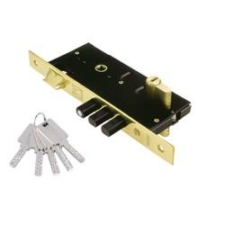 Κλειδαριά Ασφαλείας Domus ΤΡΙΑΙΝΑ PLUS 45άρα Ορειχαλκ. για Ξύλινη Πόρτα + Κύλινδρος Ασφαλείας Proton 60άρης