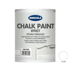 Χρώμα Κιμωλίας Mercola Pure White Νερού Ματ 750ml